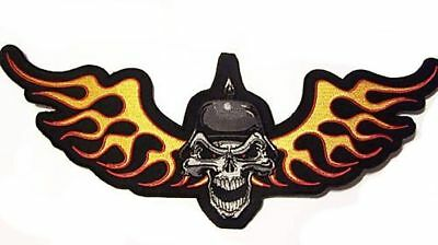 BACK PATCH SKULL FLAME OUT Embroidered For Motorcycle MC NEW Biker Vest LRG-0183
