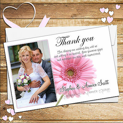 50 Personalised Pink Gerbera Wedding Day Thank you PHOTO Cards N40