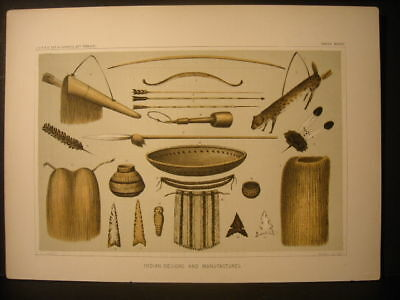 Indian Implements, H. B. Mollhausen color litho 1854