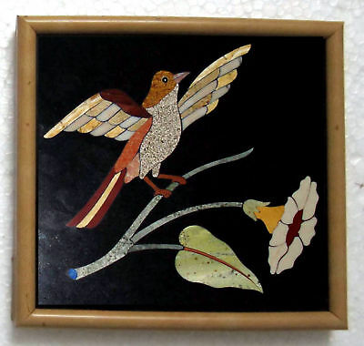 Bird Inlayed on Marble Stones Pietra Dura MOSAIC BIRD PLAQUE Decorative India