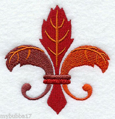 FLEUR DE LIS TOPIARY SET OF 2 BATH HAND TOWELS EMBROIDERED BY LAURA