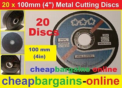 20 METAL CUTTING DISCS 100mm (4inch) INDUSTRIAL ANGLE GRINDER CUTTING OFF DISCS