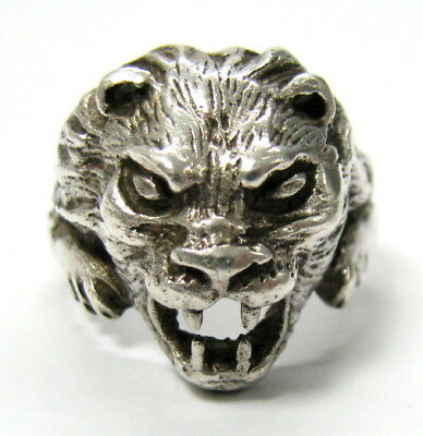 Vintage Lion Head Hard Ring Embossed Leo Face Fight »