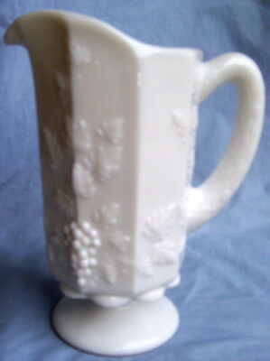 Westmoreland Glass Paneled Grape Milk Glass 9-Inch Tall 32-Ounce Footed Pitcher!