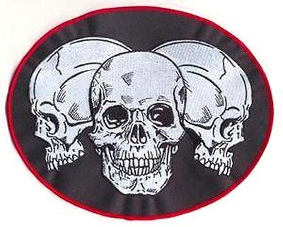 TRIPLE SKULLS Embroidered Motorcycle MC Club NEW Biker Vest BACK PATCH LRG-0174