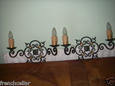 wrought iron French gothic medieval hand forged sconces