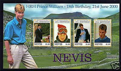 Nevis 2000 Prince Williams 18th B/day set SG1485/88 MNH