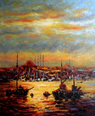 Hand Painted Oil Painting Impression Harbor w/ Fishing Boats 20x24in