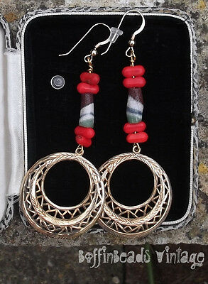 Vtg Mardi Gras red coral glass sand-cast Africa Trade stick beads HOOP EARRINGS!