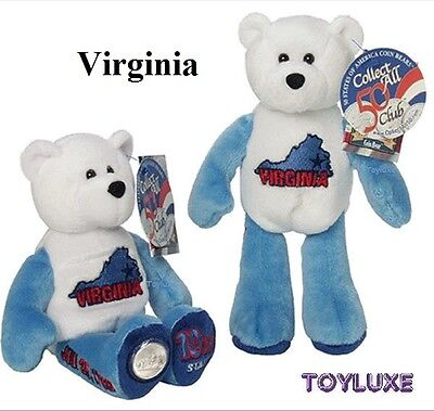 "LIMITED TREASURES VIRGINIA 10th Collectible STATE QUARTER Coin BEAR 9"" Plush NEW"