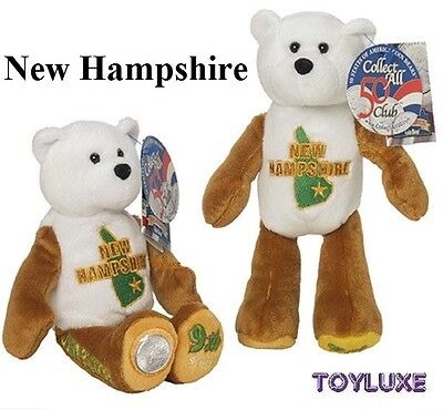"LIMITED TREASURES NEW HAMPSHIRE 9th Collectible STATE QUARTER Coin BEAR 9"" Plush"