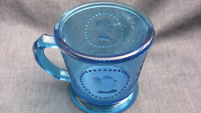 1870 EAPG Pattern Glass Ceres Cameo Classic Medallion Large Peacock Blue Mug
