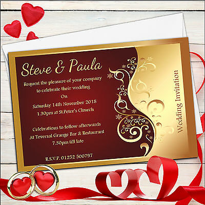 10 Personalised Red & Gold Wedding Invitations Day or Evening N25