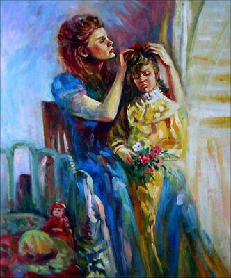 Hand Painted Oil Painting Mother Arranging Her Daughter's Hair 20x24in