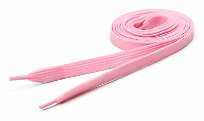 Flat Coloured Shoelaces Fat Skate Shoe Laces Trainers Coloured Baby Pink