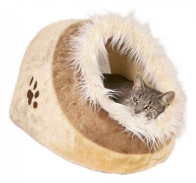 Cat Kitten Plush Cushy Cave Bed Beige For Cats Dogs
