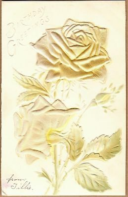 Vintage Embossed Birthday Greeting Card: Yellow Roses