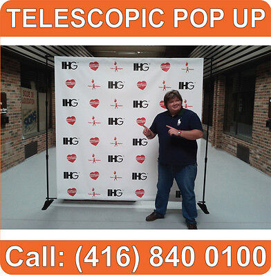 Trade Show TELESCOPIC Back Press Wall Backdrop Pop Up Booth Banner Display Stand