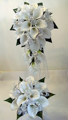 Wedding Bouquet Set, Real Touch Cala Lillies & Diamante