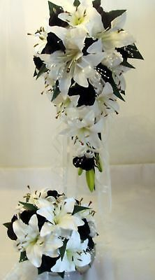 Wedding Bouquet Set, Real Touch Lily Pearls Black Roses