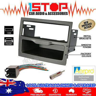 Holden Commodore Vy-Vz Grey Single-Din Fascia Kit Wiring Harness Antenna Adaptor