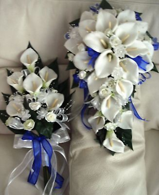 Wedding Bouquet Set, Real Touch Cala Lily Blue Ribbon