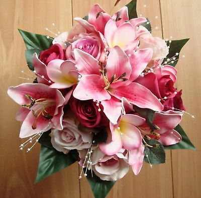 Wedding Posy Bouquet,real Touch Pink Lily & Frangipanni