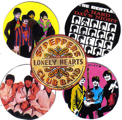 5 BEATLES BADGES. Sgt Pepper.
