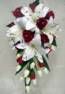 Wedding Bouquet Set,real Touch  Lillies & Red Roses