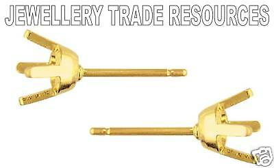 18ct Yellow Gold Earring Settings Jewellery Making for 3mm Gemstones or Diamonds