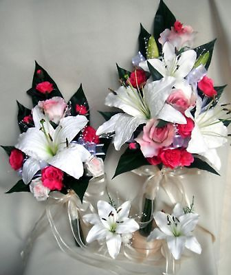 Wedding Bouquet Set, Real Touch Lily, Hot Pink Roses
