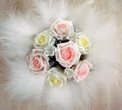 Flowergirl Posy Bouquet, Roses,feathers And Pearls