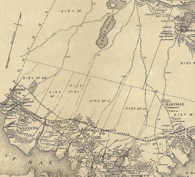 Westhampton Speonk  NY 1873 Map with Homeowners Names Shown