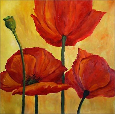 Ex. Large Modern Hand Painted Oil Painting 30x30in Three Red Poppies