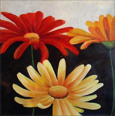 Large Modern Hand Painted Oil Painting 30x30in Colorful Daisies III