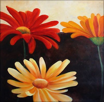 Large Modern Hand Painted Oil Painting 30x30in Colorful Daisies IX