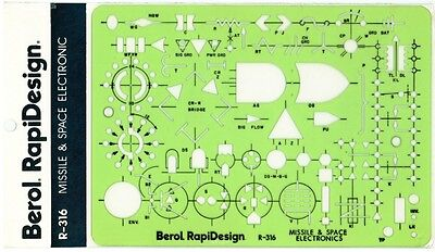 Berol Rapidesign Template Missle Space Electronic R-316