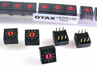 Otax KDR102 PCB Mount Rotary Switch 0 to 9 Slotted 5 pieces OM545