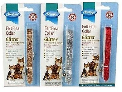 armitage cat flea glitter collar red gold or silver RRP £4.29