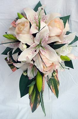 Wedding Bouquet,real Touch  Cream,pink Lillies & Roses