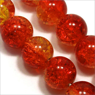 Lot de 20 Perles Craquelées en Verre 12mm Orange