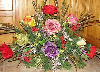 Mother Grandmother Sister Memorial Cemetery Flowers Assorted Fall Colorful Roses