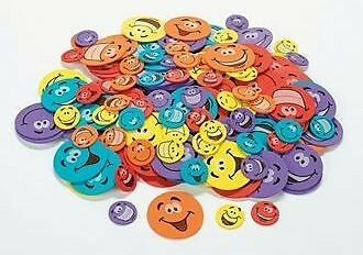 20 Smiley Face Foam Sticker Shapes Scrapbooking Kid