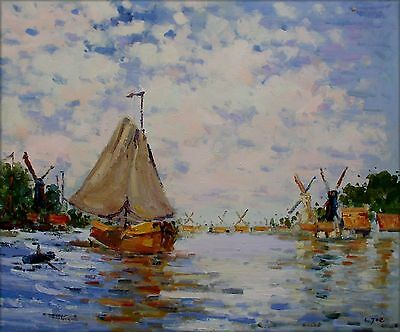 Hand Painted Oil Painting Repro Claude Monet The Zaan at Zaandam, 20x24in