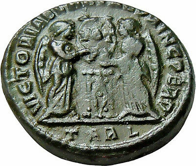 Constantine I the Great AE Two Victories Arles Mint Authentic Ancient Roman Coin