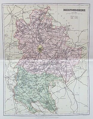 OLD ANTIQUE MAP BEDFORDSHIRE by WELLER MACKENZIE c1880's
