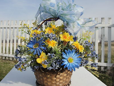Blue Daisies Yellow Narcissus Silk Flowers Florist Wicker Basket of Wildflowers