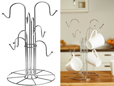 New Chrome 8 Cup Mug Tree Stand Holder Hanging Cup Kitchen Drainer Storage Rack