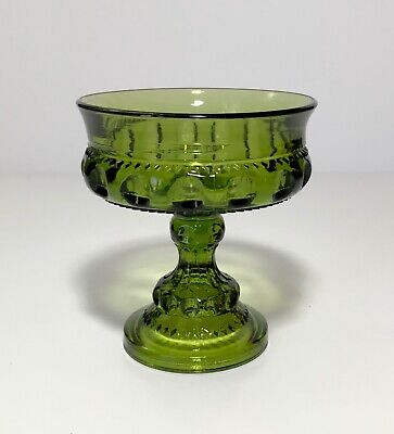 INDIANA GLASS GREEN GLASS COMPORT KINGS CROWN COMPOTE