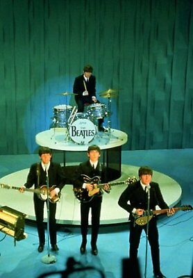 The Beatles Get Back On Stage Band Group Photograph Picture Postcard Official